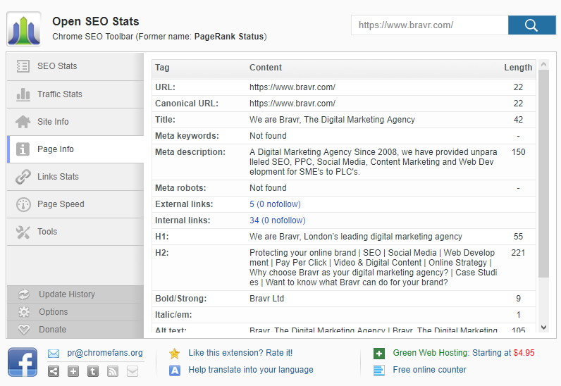 Open SEO Stats - Page info